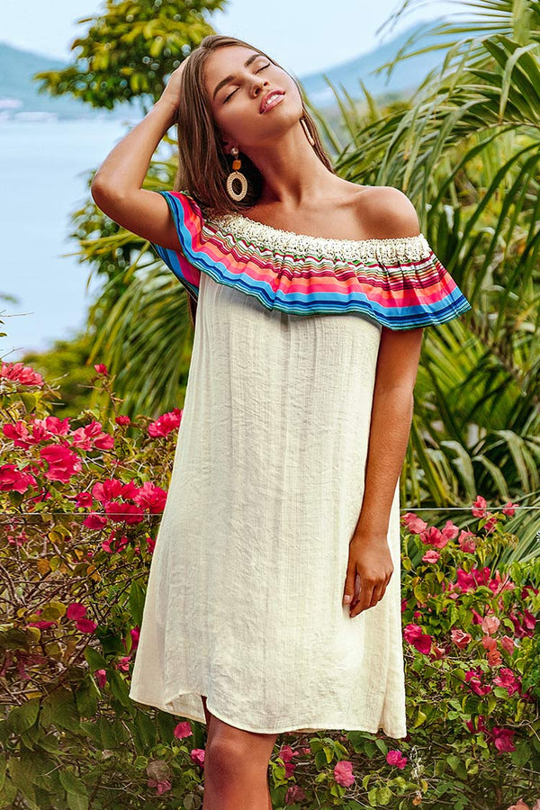Rainbow Off-The-Shoulder Dress