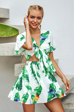 Leafy Print Cut Out Mini Dress