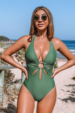Green Halter Flower Cutout One Piece Swimsuit