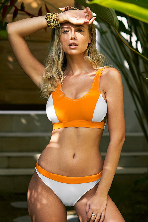 Orange and White Colorblock Sporty Bikini