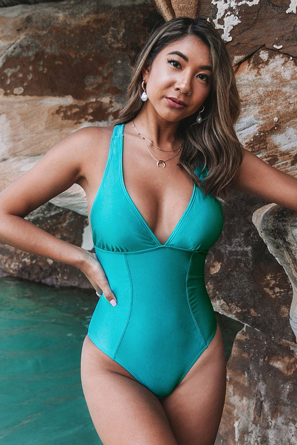 Aqua Blue V-Back One-Piece Swimsuit