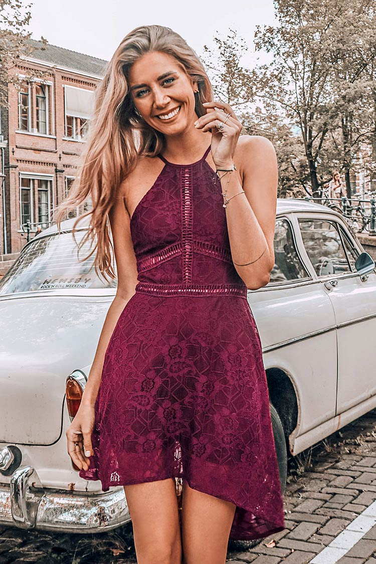 Red Lace High-Low Dress