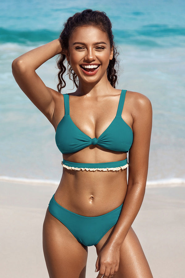 Teal High Cut Cheeky Bikini Bottom