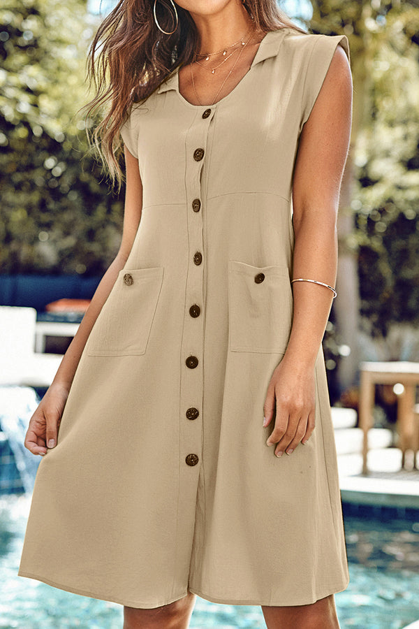 Tan Front Button Dress with Pockets