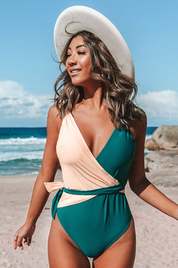 V-neck Two Toned One-Piece Swimsuit