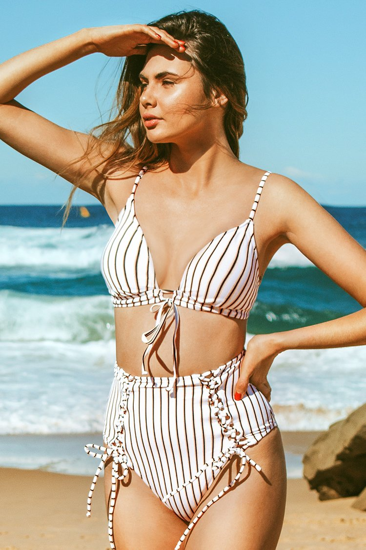 Laced Up Stripes High-Waisted Bikini