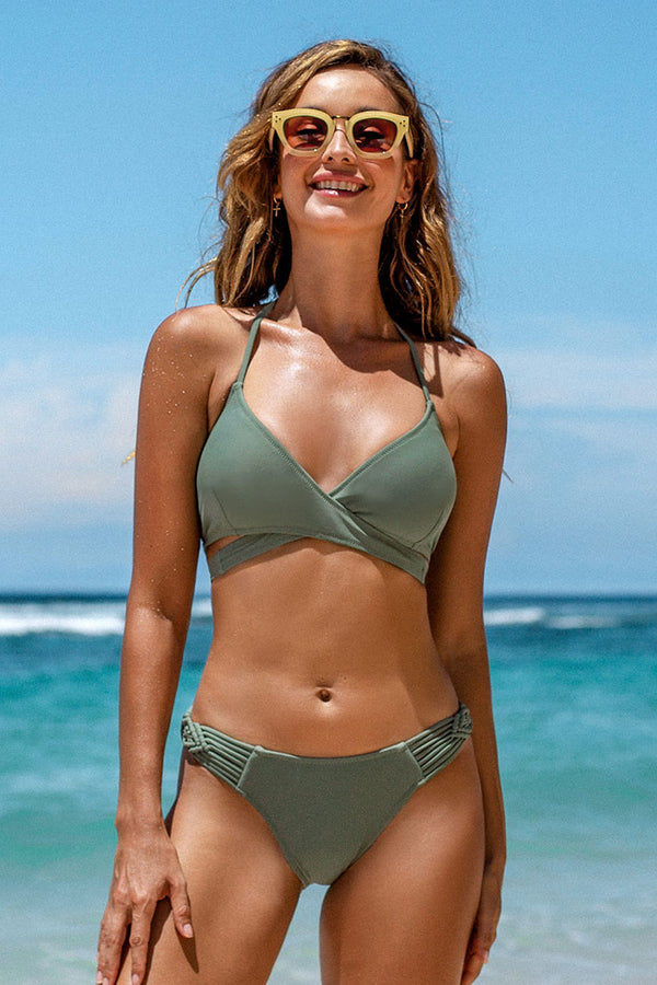 Dusty Green Strappy Wrap Bikini