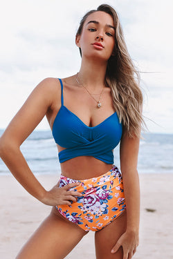Summer Dream Blue Wrap And Floral High Waisted Bikini