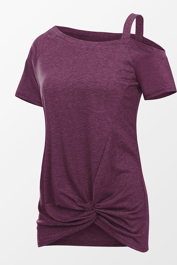 Purple Short Sleeve Knotted Top