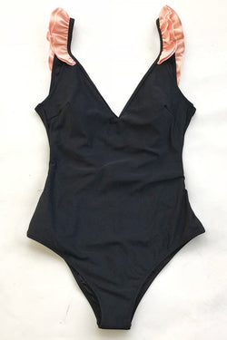 Black with Pink Ruffle One-Piece Swimsuit