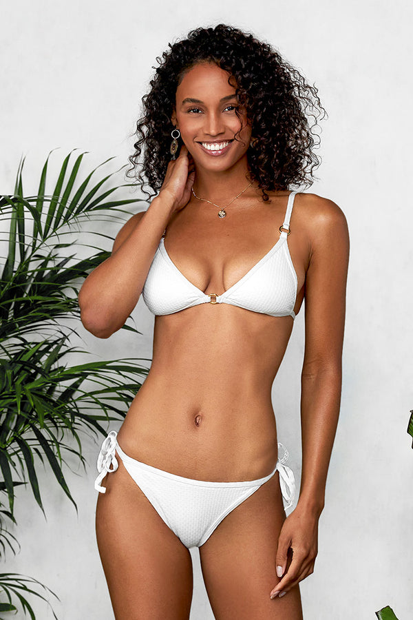 White Low Rise Side Tie Bikini