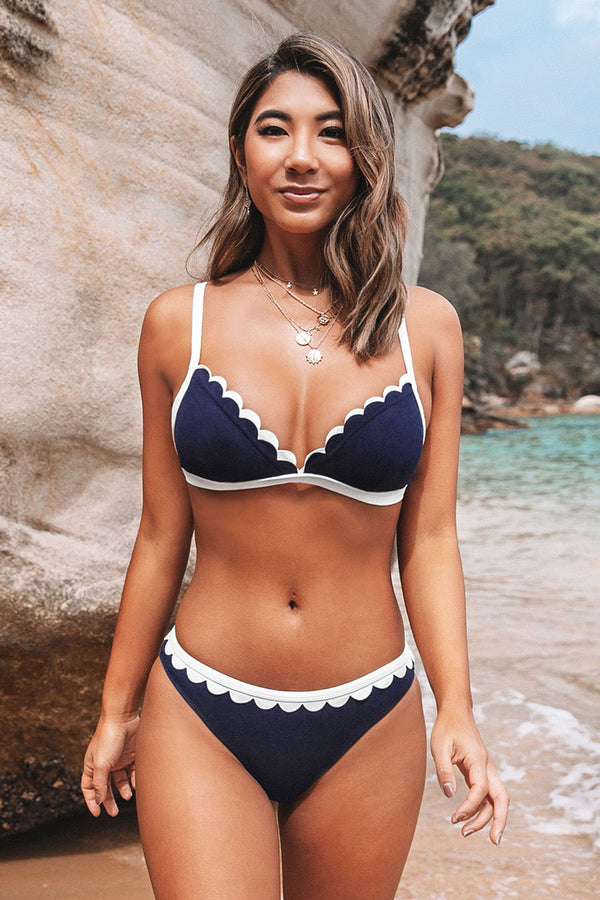 Dark Blue Scalloped Contrast Trim Bikini