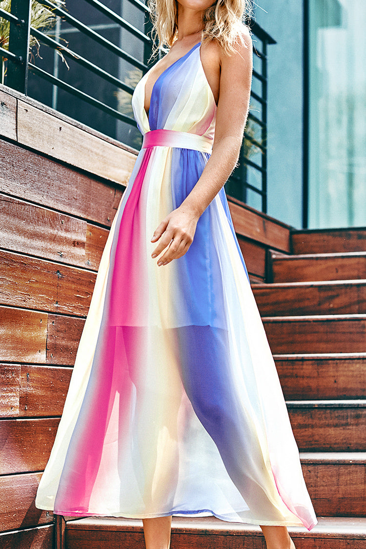 Rainbow Maxi Dress with Plunging Neckline
