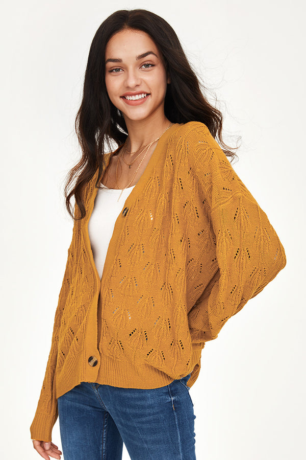 Buttoned Drop Stitch Cardigan