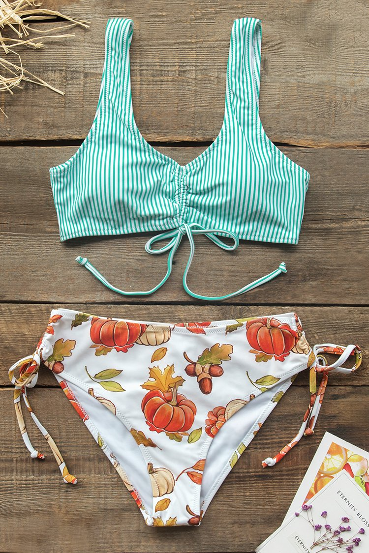 Green Stripe and Pumpkin Bikini