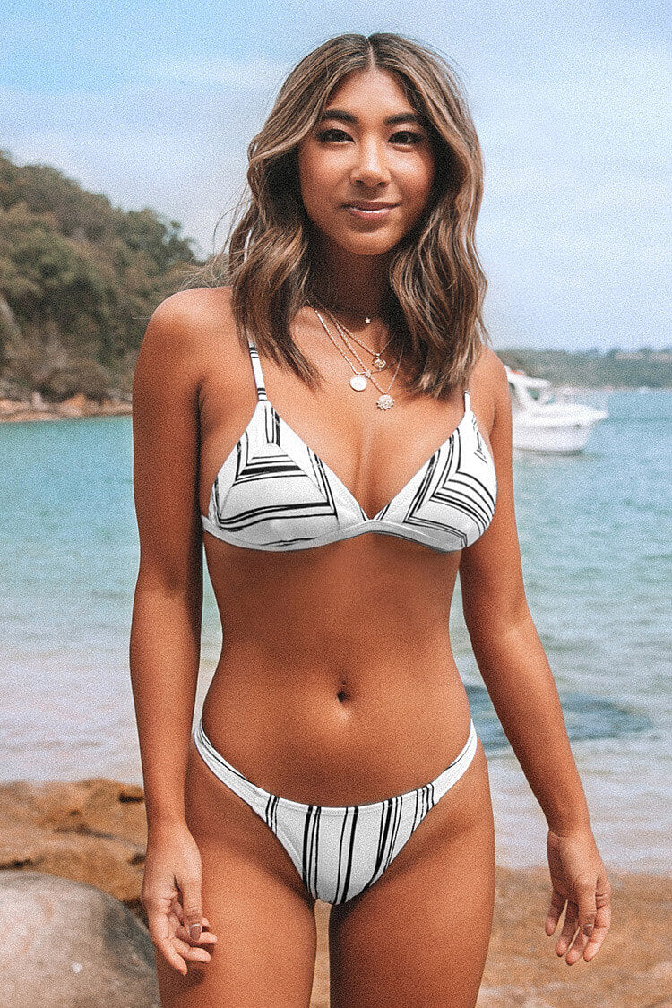 White and Black Striped Triangle Bikini