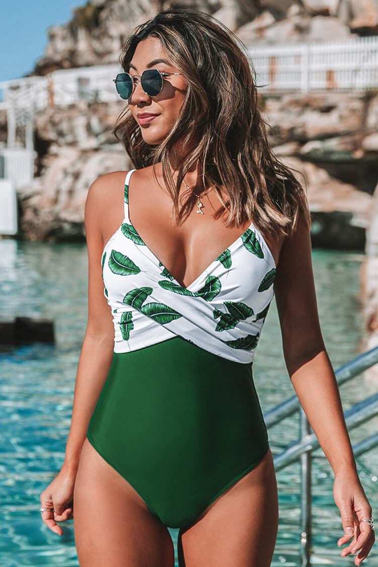 Banana Leaf Twist-Front One Piece Swimsuit