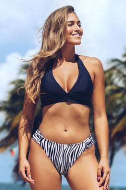 Navy Solid and Zebra Halter V-Neck Bikini