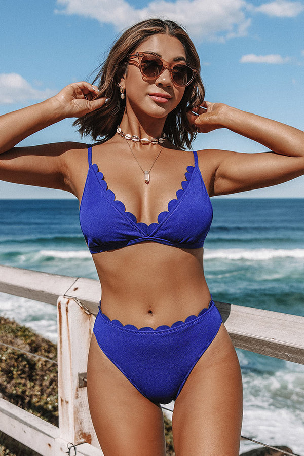 Blue Scalloped Mid Waisted Bikini