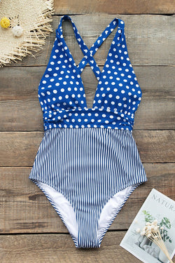 Blue Polka Dots And Stripes Print One-Piece Swimsuit