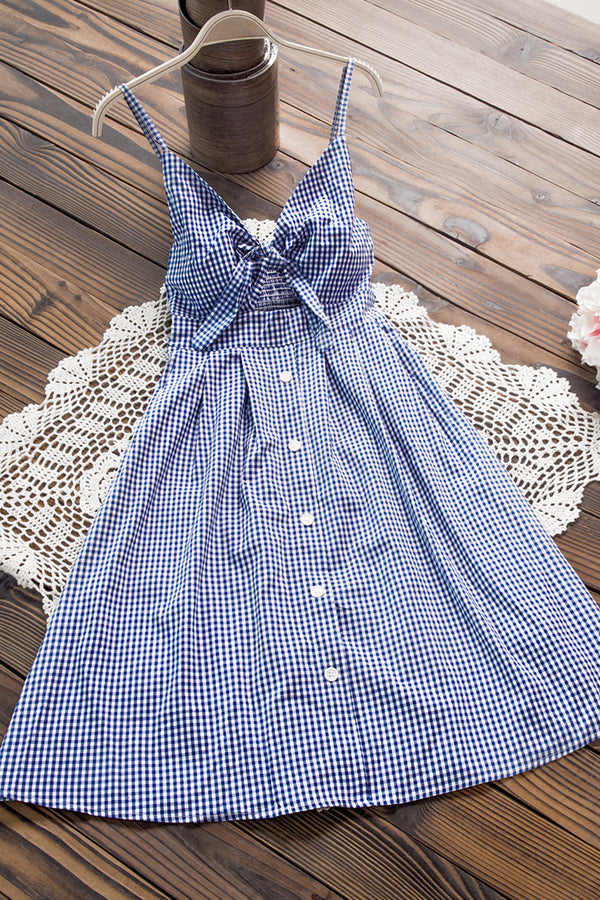 Blue Gingham Tie-Front Dress