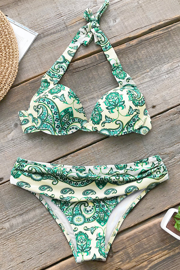 Green Paisley Halter Bikini with Moulded Cups