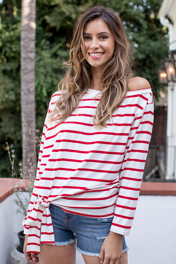 Classic Striped Knot Long Sleeve Top
