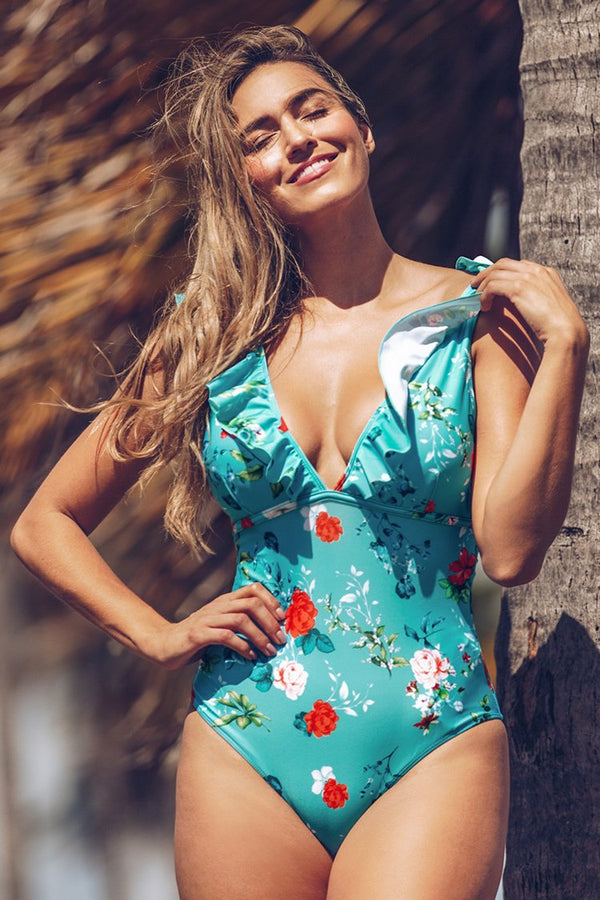 Teal Floral Ruffled V-Neck One-Piece Swimsuit