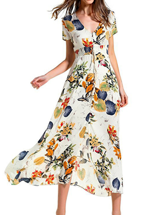 Floral Print Front Button Slit Dress