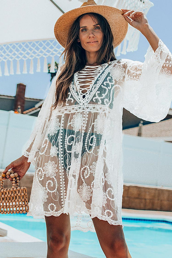 White Floral Lace Up Cover Up