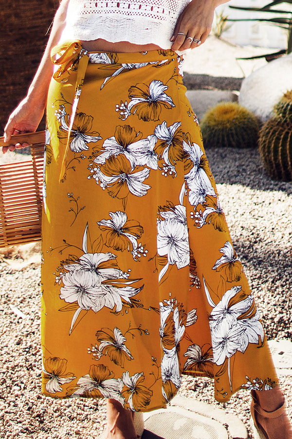 Yellow Floral Print Maxi Skirt