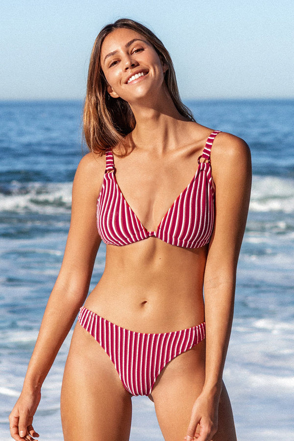 Red and White Striped Triangle Bikini