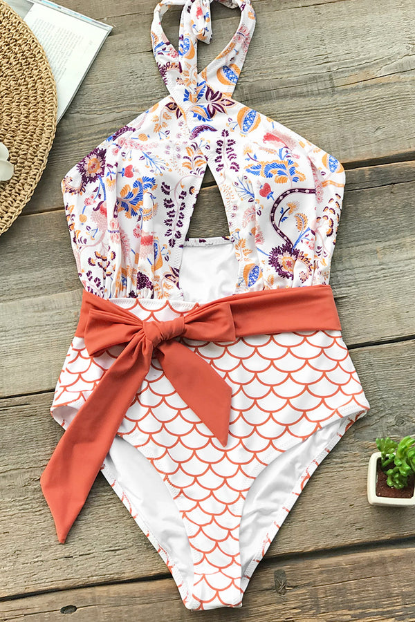 Orange Dream Wrap One-Piece Swimsuit