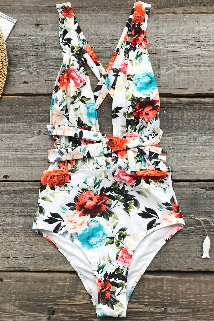 Rose Only Print One-piece Swimsuit