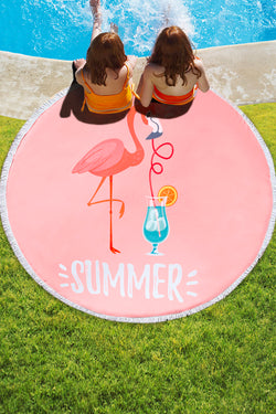 Flamingo Round Beach Towel with Tassel