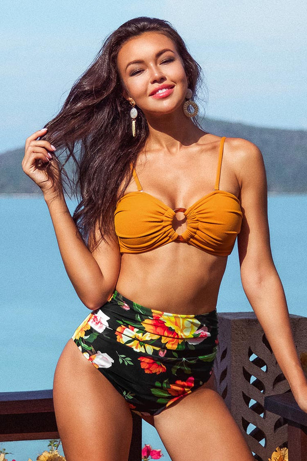 Sweet Floral High Waisted Bikini Bottom