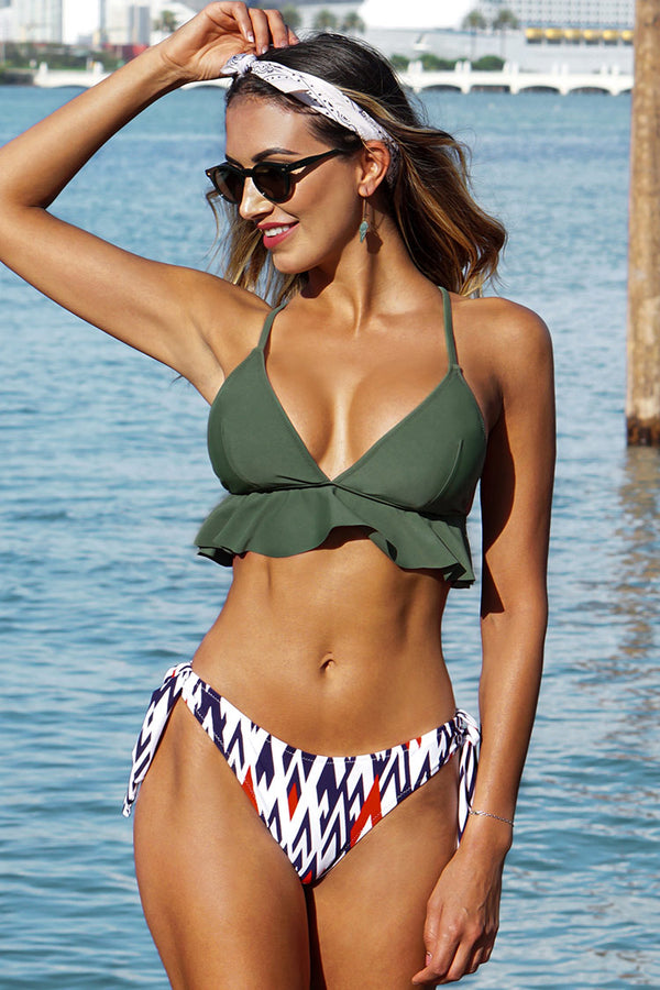 Green Ruffled Bikini Top