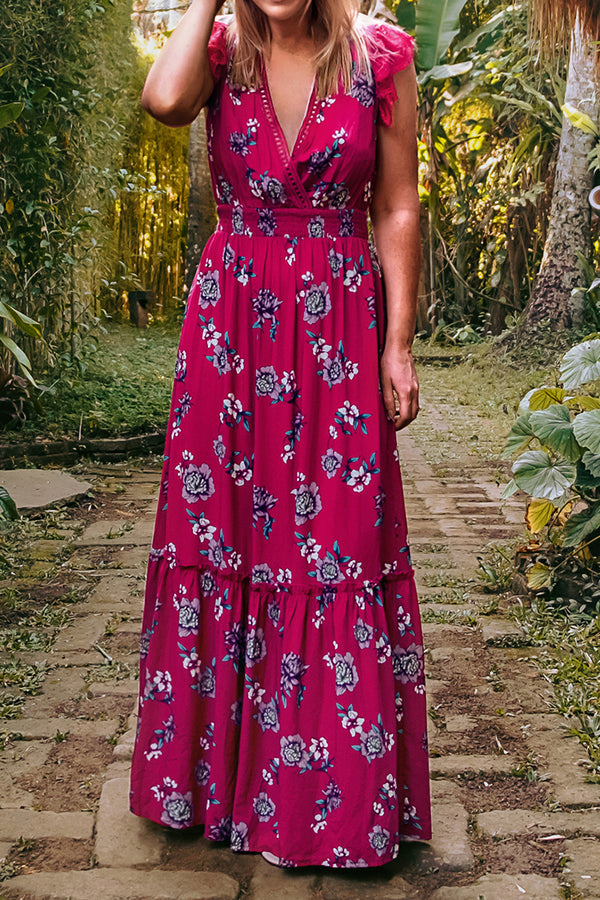 Red Floral Ruffle Maxi Dress