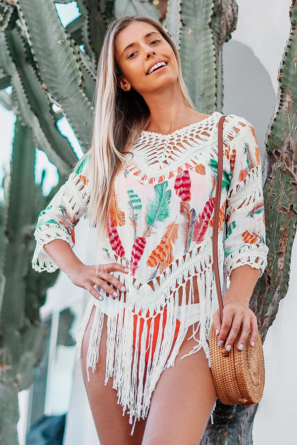 Feather Print Fringe Cover Up