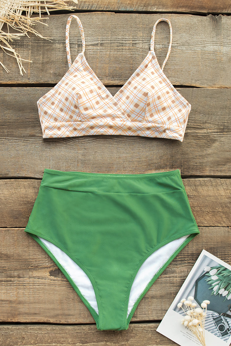 Yellow Plaid Bikini with Green High-Waisted Bottom