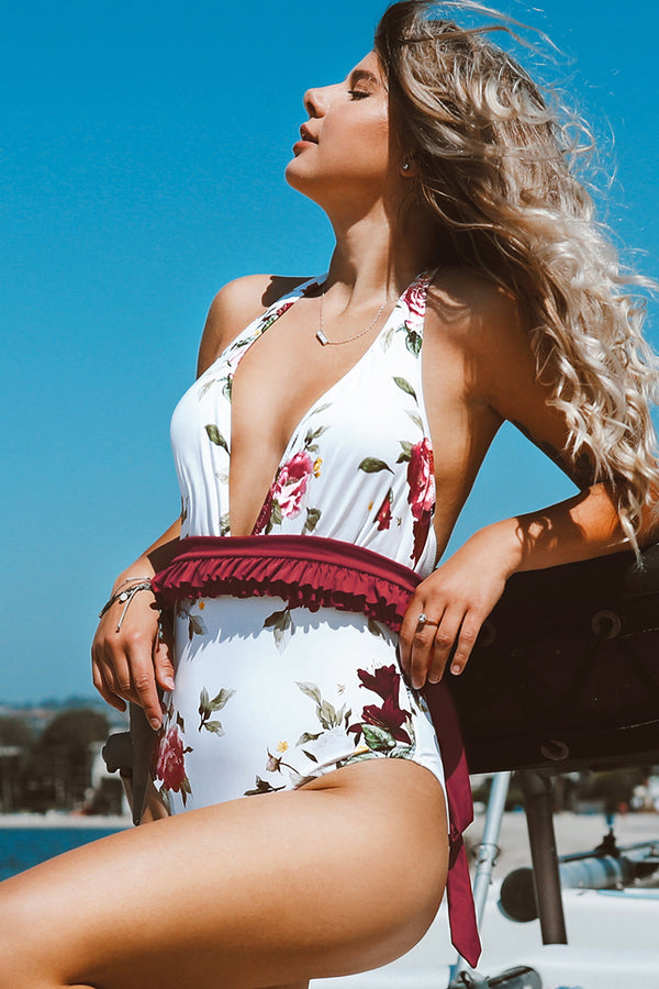 Floral Plunging Neckline One-Piece Swimsuit