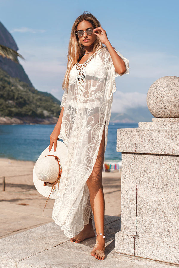 Emely Crochet Waves Trim Kaftan Cover Up