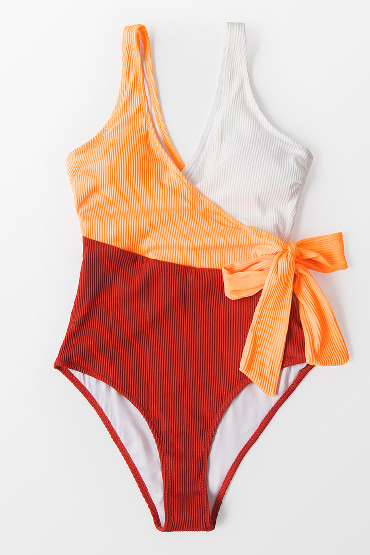 Colorblock Plunging One Piece Swimsuit