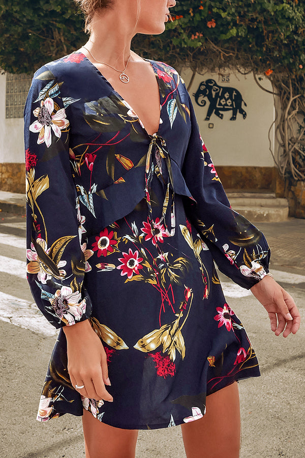 Black Floral Puff Sleeve V-Neck Mini Dress