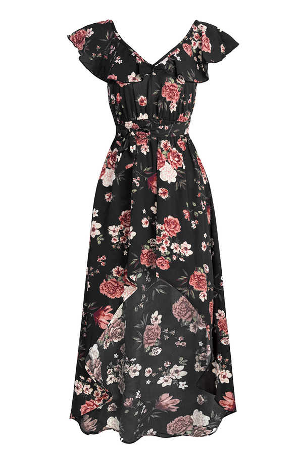Black Floral Print Ruffled High-Low Dress