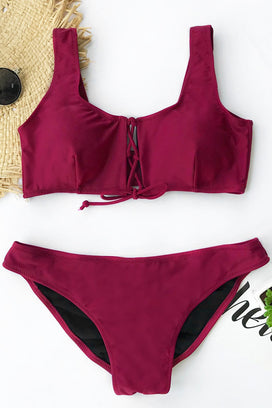 Cupshe Dying In Wine Tank Bikini Set