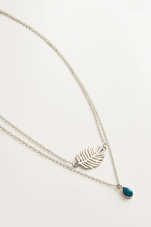 Silver Laef And Turquoise Layered Necklace