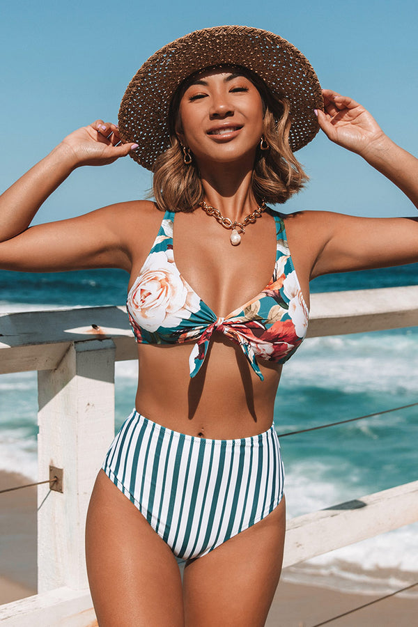 Floral and Stripe Knotted High Waisted Bikini