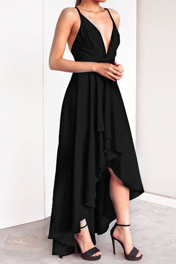 Black Crisscross Back Slip Evening Dress