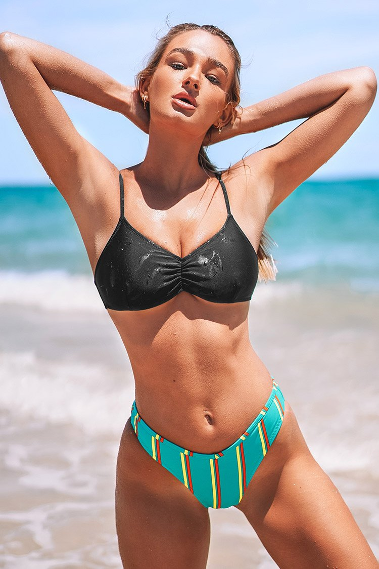 Black and Colorful Stripe Bikini